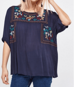 Everything 5 Pounds navy embroidered top