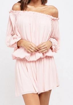 Everything 5 Pounds pink off shoulder mini dress