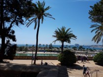Cathedral view to Parc de la Mer and Palma port