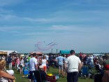 Crowds watching Red Arrows display Cosford airshow