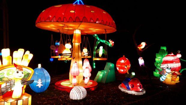 Birmingham Magic Lantern Festival - cute insects on a toadstool swing