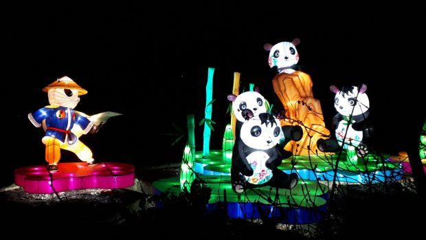 Birmingham Magic Lantern Festival - 4 pandas and a superhero panda