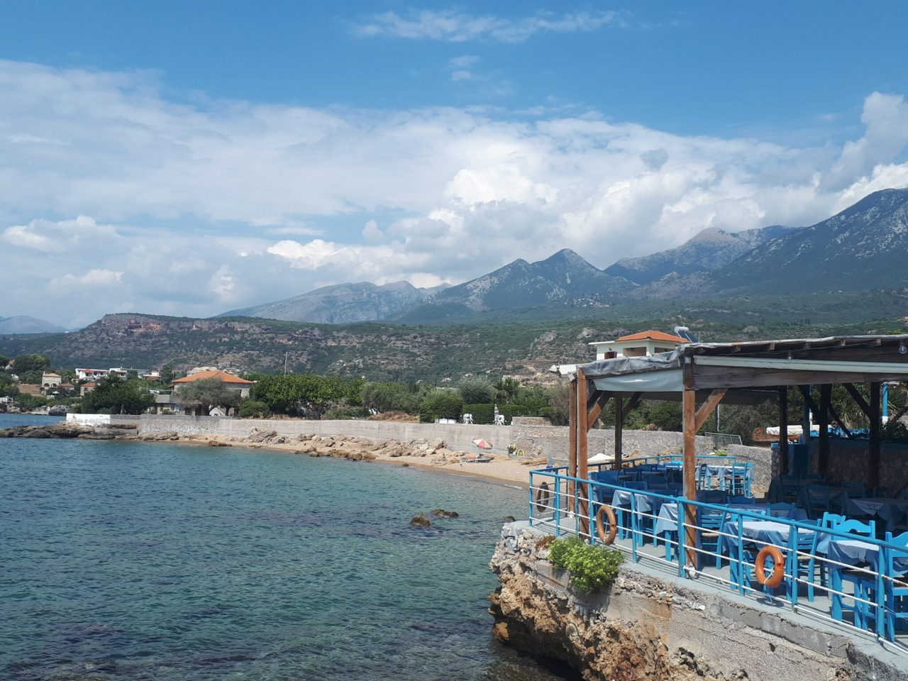Clouds over mountains behind Stoupa