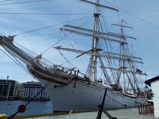 Traditional ship in Bergen harbour