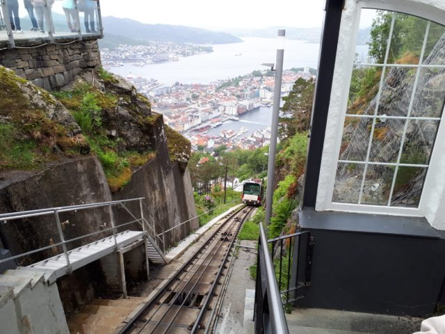 Fløibanen funicular and view from Mount Floyen
