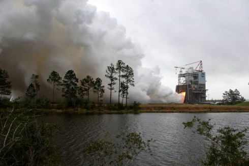 NASA engineers conduct a successful test-firing of the RS-25 rocket engine earlier this year at the Stennis Space Center in Mississippi.