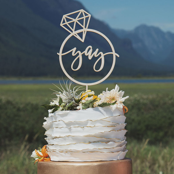 Yay Engagement Cake Topper - Thistle and Lace Designs Inc