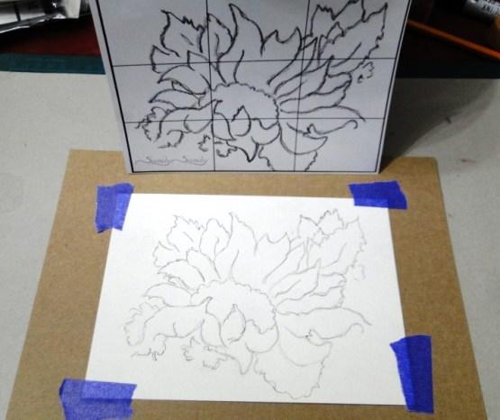 Sunflower Sketch in Watercolour