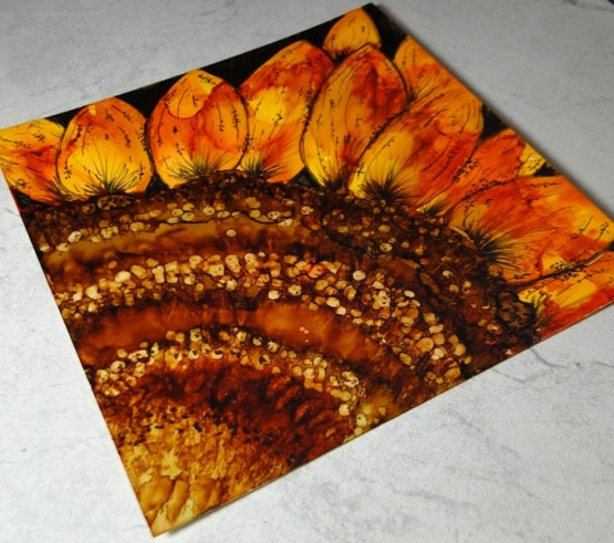Sunflower in Alcohol Ink