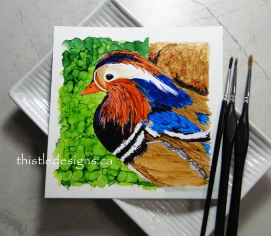 Mandarin Drake in Alcohol Ink