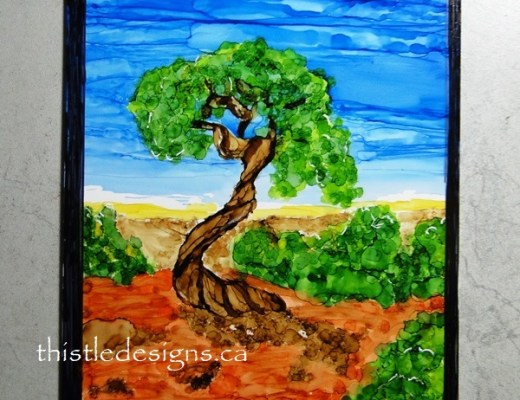 Juniper Tree in Alcohol Ink
