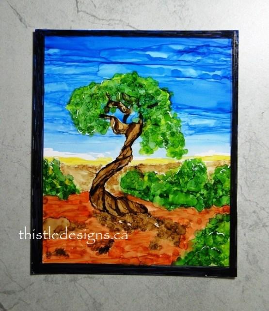 Juniper Tree in Alcohol Ink
