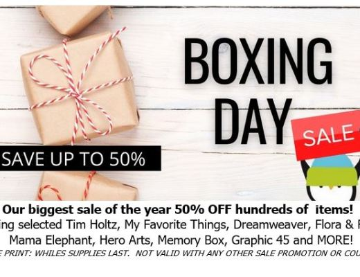 Boxing Day Sale at Scrap 'N Stamp!