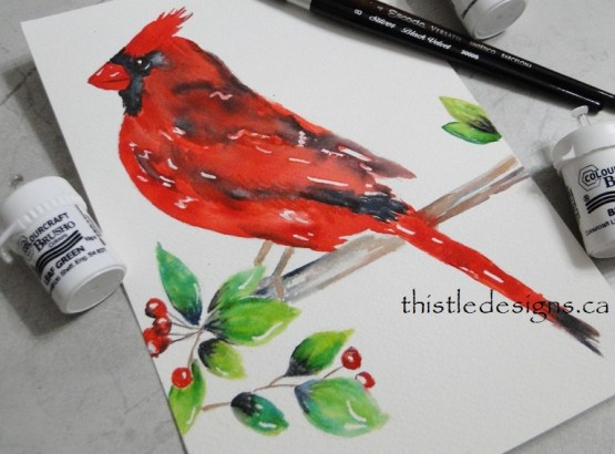 Cardinal Painted with Brusho