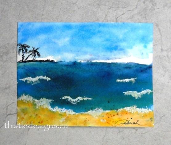 Watercolour Beach Scene