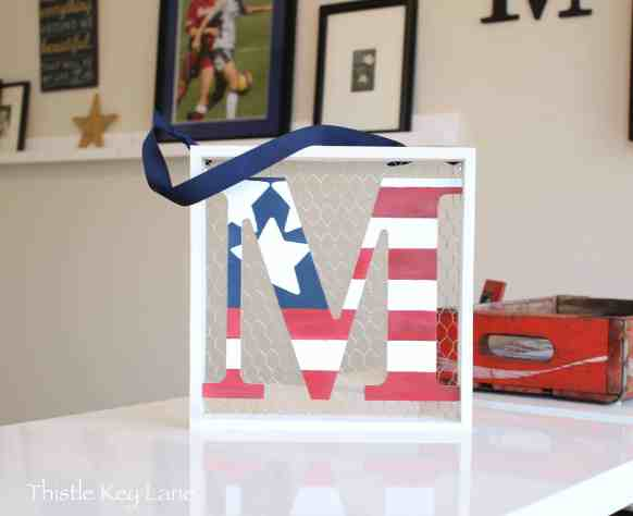 Red, white and blue letter M