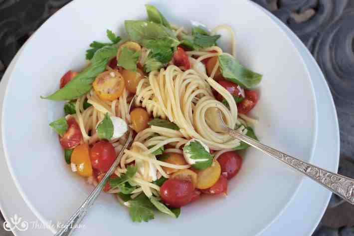 Digging into the spaghetti with marinated tomatoes and mozzarella