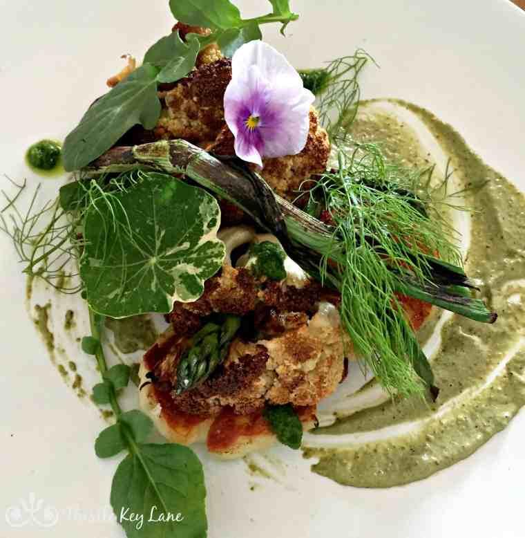 Roasted Cauliflower, Halloumi, Wild Garlic Pesto, Spring Onion