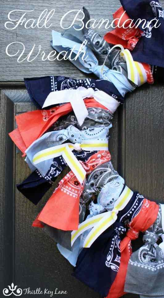 Creating a fall bandana wreath