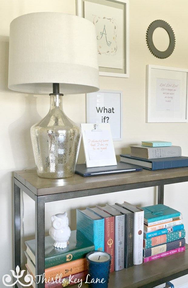 Lighting added to the bookshelf.