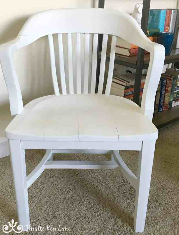 The library chair was painted white. Simple and classic.