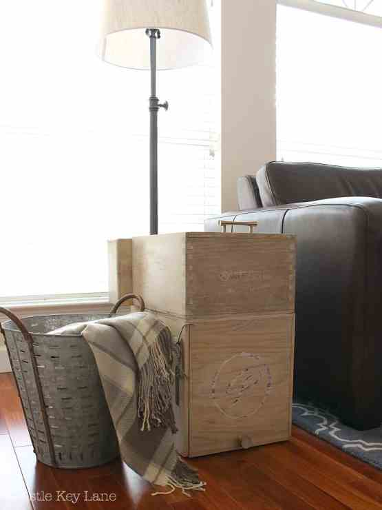Rustic wine crate end table.