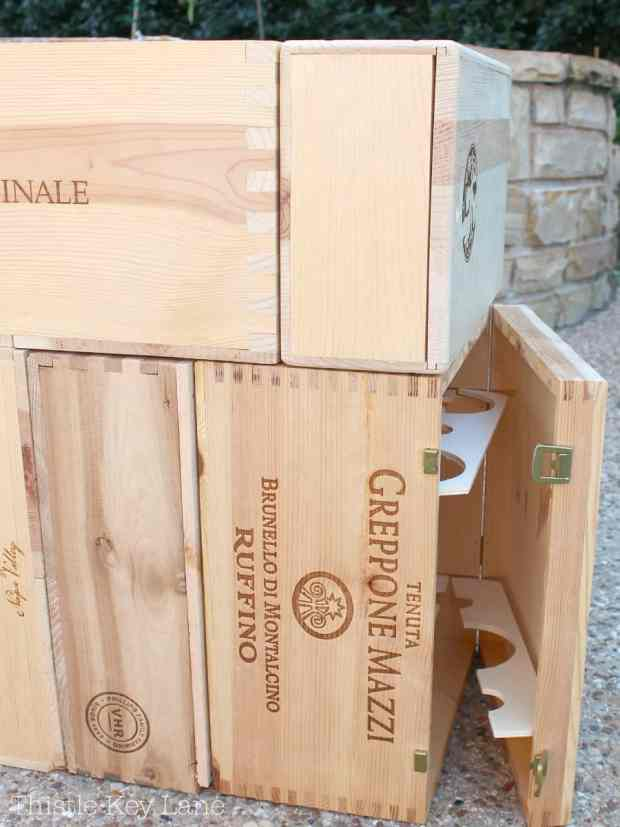 Wine crate end table with storage.
