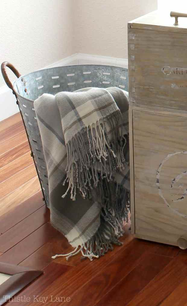 Wine crates add a rustic look.