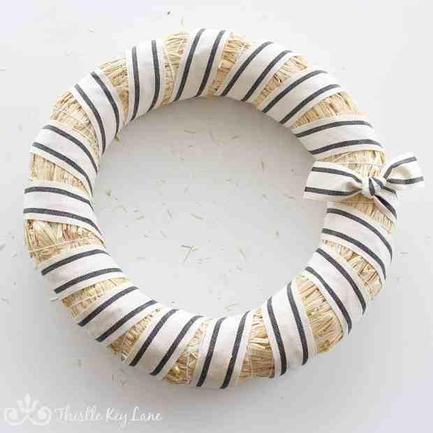 Winter White Striped Wreath