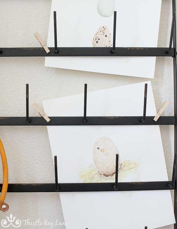 Free Printable! Spring chick watercolor on display.