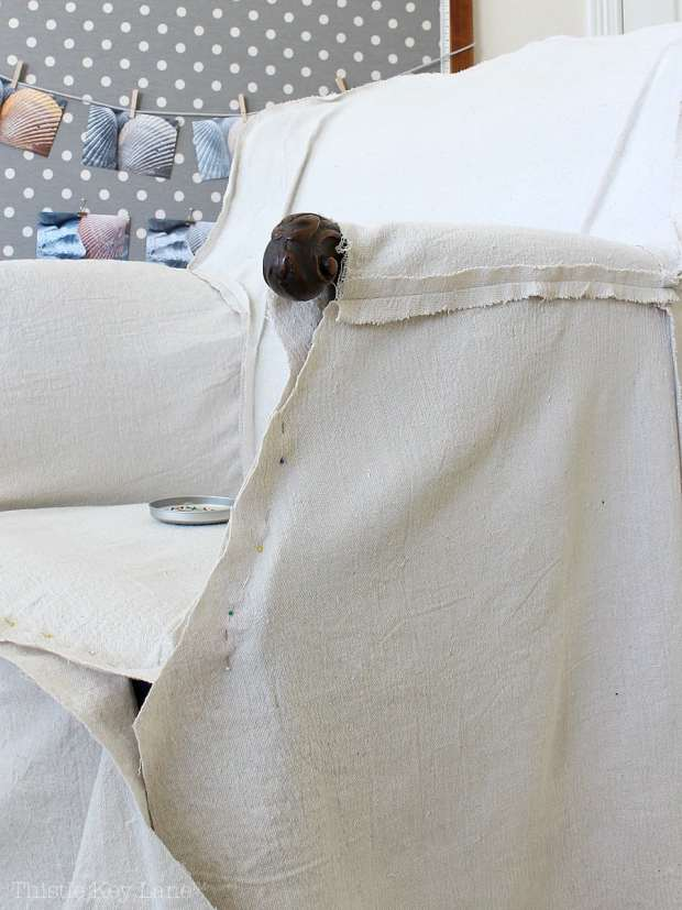 DIY Drop Cloth Armchair Slipcover