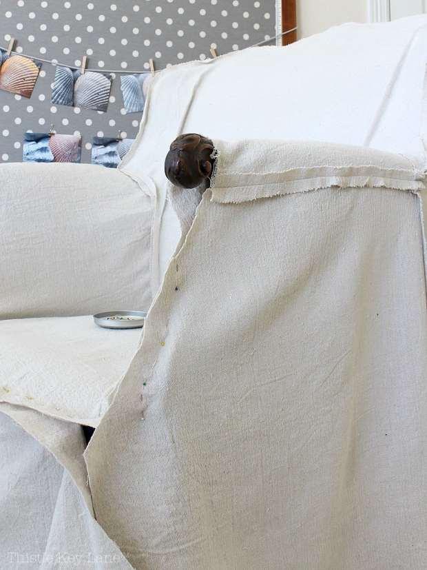 DIY Drop Cloth Armchair Slipcover