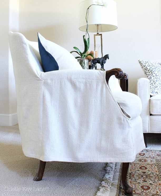 Drop Cloth Armchair Slipcover for a casual look.