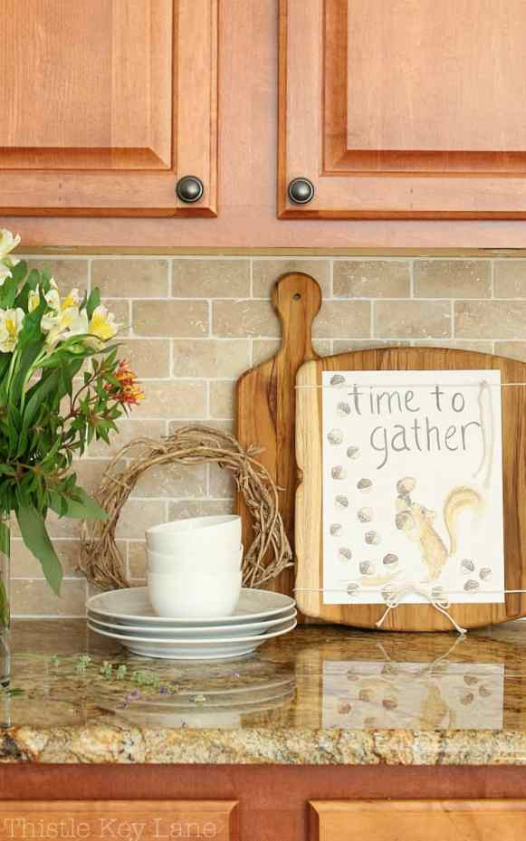 Fall vignette on the kitchen counter