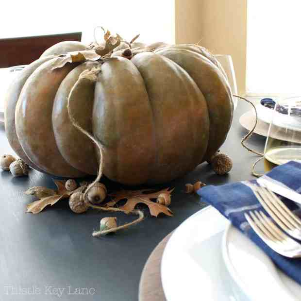 So simple, one big pumpkin for a centerpiece.
