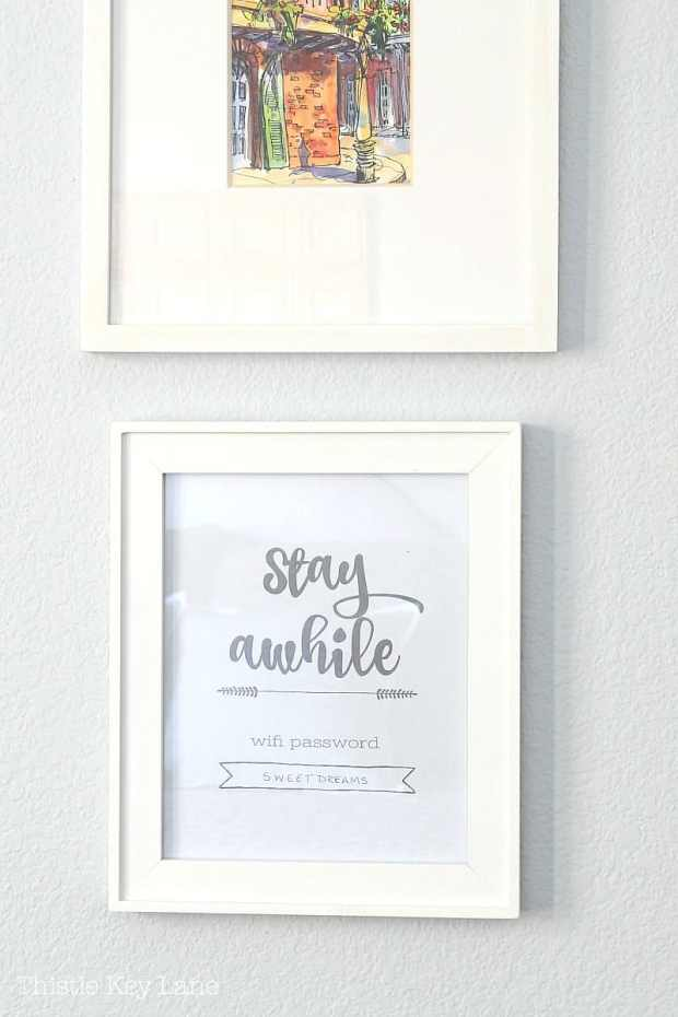 Stay awhile wifi password print framed for guest.