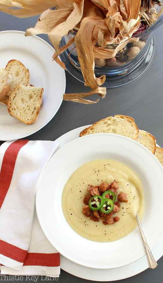 Potato leek soup topped with Andouille sausage.