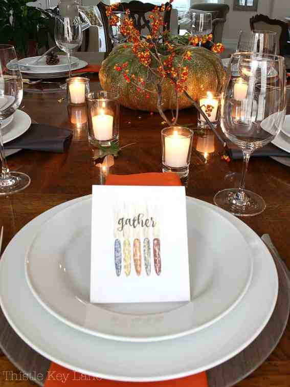 Sweet place card for Thanksgiving.