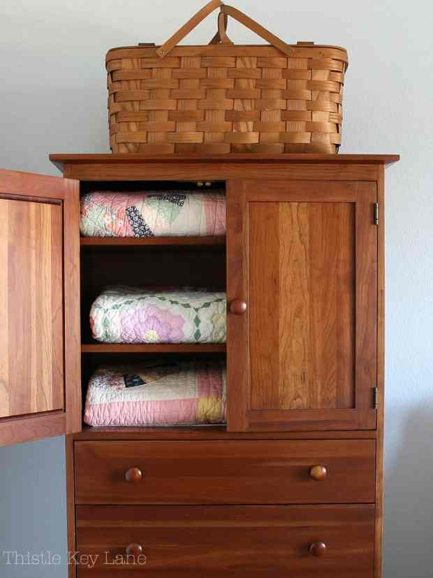 Simple armoire for quilt storage.