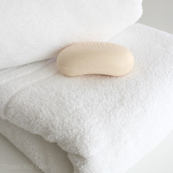 Fluffiest towels and soap for the guest bath.