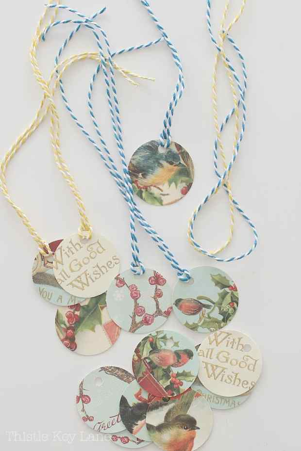 Vintage gift tags with colored string