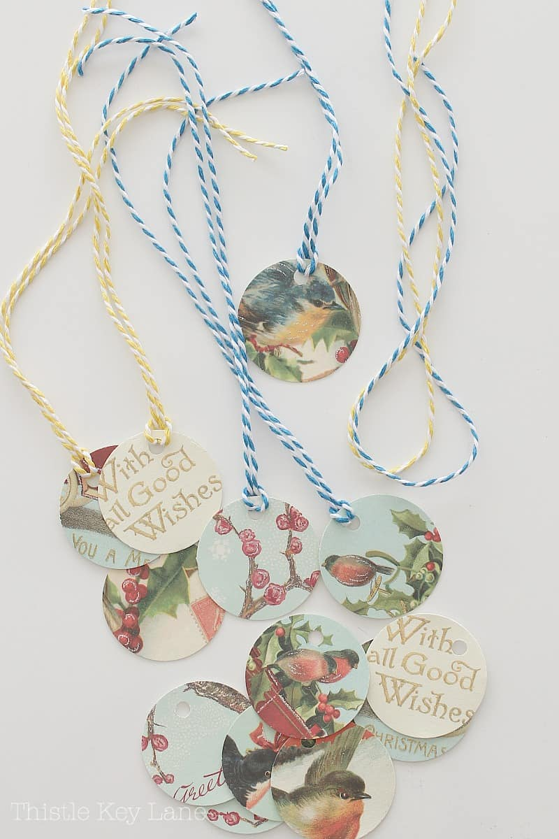 Tie colored string to vintage tags