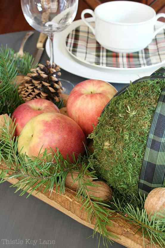 Fresh fruit for a vintage holiday centerpiece.