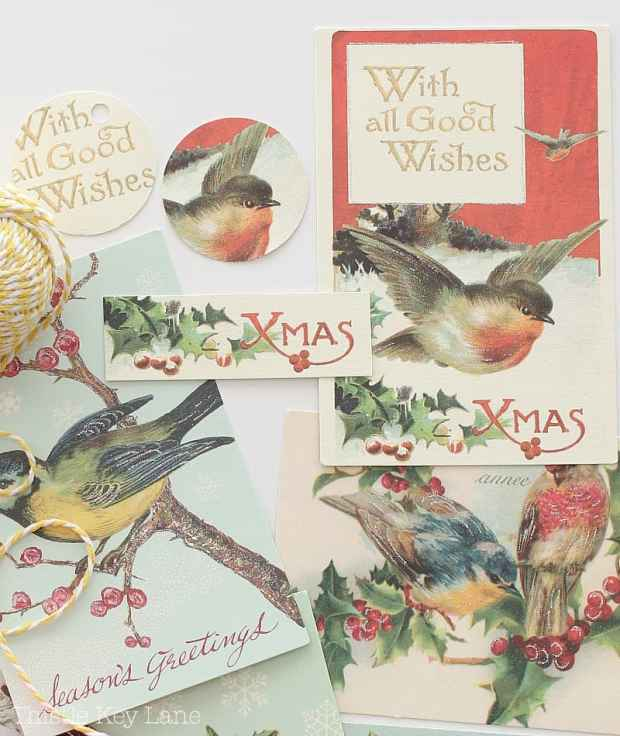 Create tags from vintage Christmas cards.