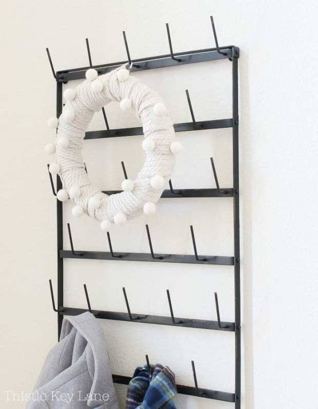 Winter decorating with a sweater wreath.