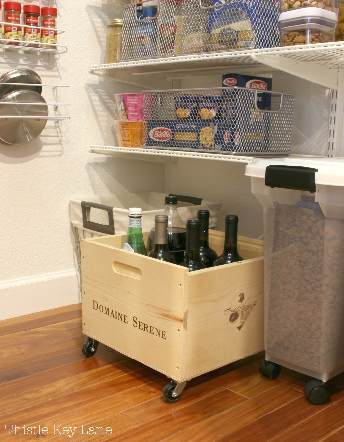 Try using crates in the pantry for storage.
