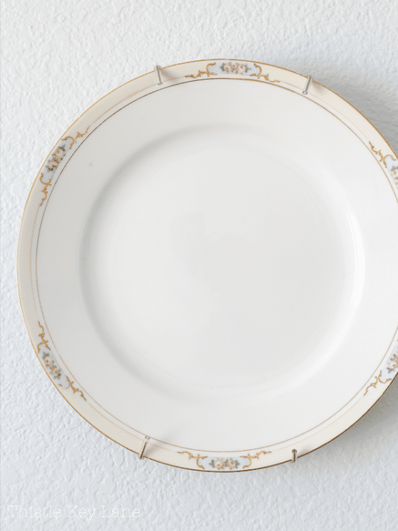 China plate with rose border.
