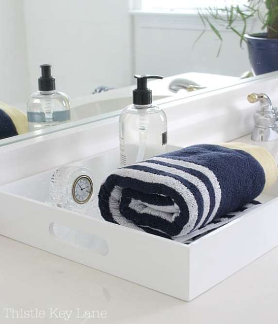 Bathroom counter tray. No clutter here.