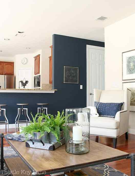 Everyday decorating with a navy accent wall.