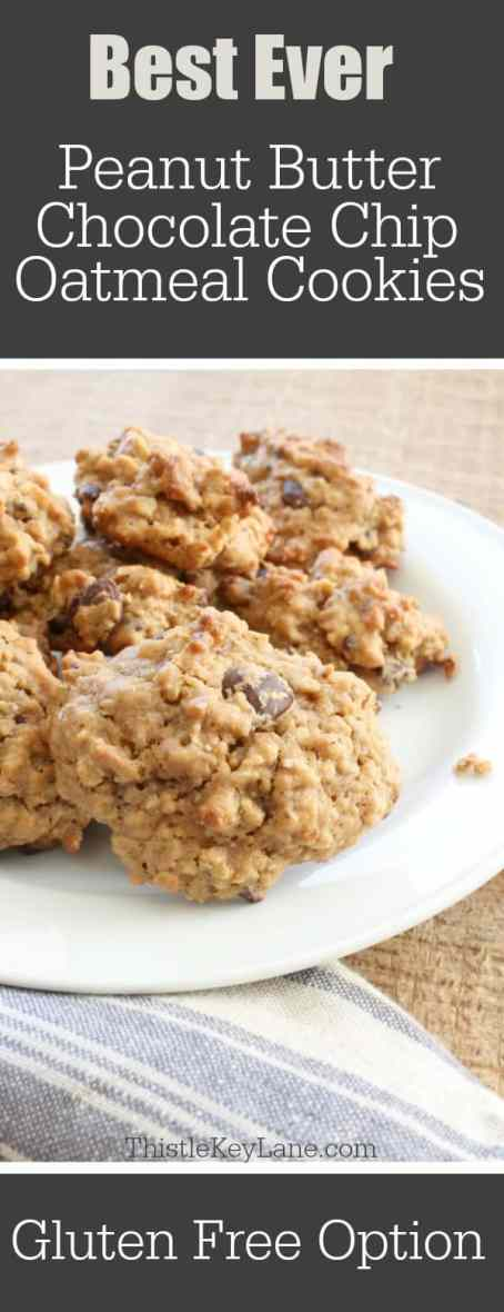 These are the best ever peanut butter chocolate chip oatmeal cookies, gluten free!